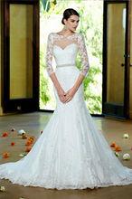 Casamento 2015 new Three Quarter Sleeve lace fishtail wedding dress rhinestone belt mopping beautiful mermaid wedding dresses(China (Mainland))