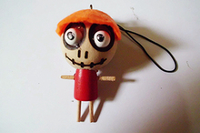 Wooden&Wacky Voodoo Doll Toy Forest Ghost Keychains small size 40*20mm Cute Kawaii Charms Lanyard Key BAG pendants Free Shipping(China (Mainland))
