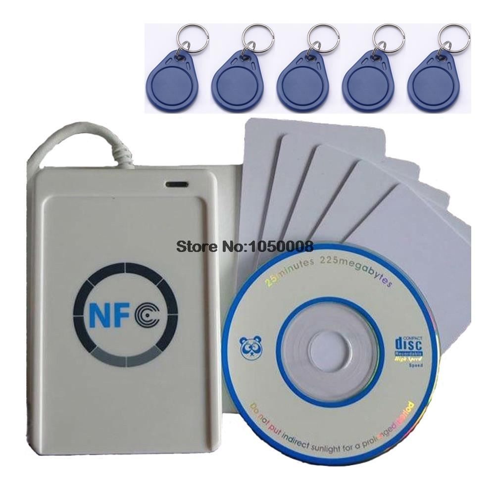 USB ACR122U-A9 NFC Reader Writer duplicator RFID Smart Card + 5pcs UID changeable Cards + 5pcs UID keyfob +1 SDK CD(China (Mainland))
