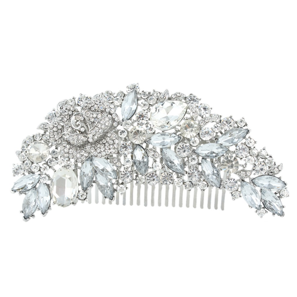 BELLA Spring Large Flower Rose Bridal Hair Comb Clear Austrian Crystal Wedding Accessories Bridesmaid For Women(China (Mainland))