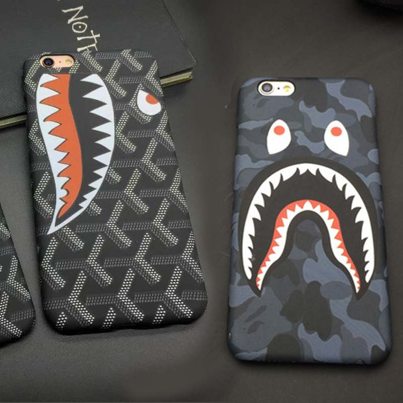 Tide brand Funny camouflage Bathing Ape Man shark Head Frosted Glow Hard stealth Case Cover for Apple iphone 6 6S/ 6plus 6S plus(China (Mainland))