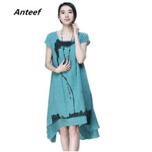 Buy new fashion summer style cotton linen plus size vintage print women casual long loose dress vestido femininos party 2017 dresses for $9.99 in AliExpress store