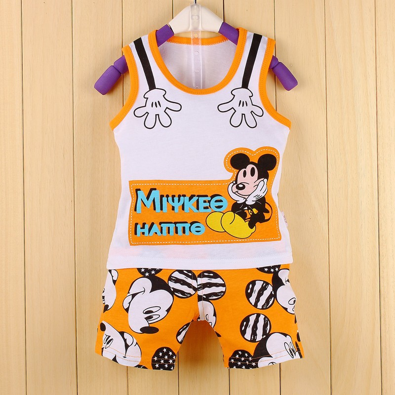 2015 summer kids cute clothing sets casual cartoon mickey  boys girls clothing vest+shorts suit KT569