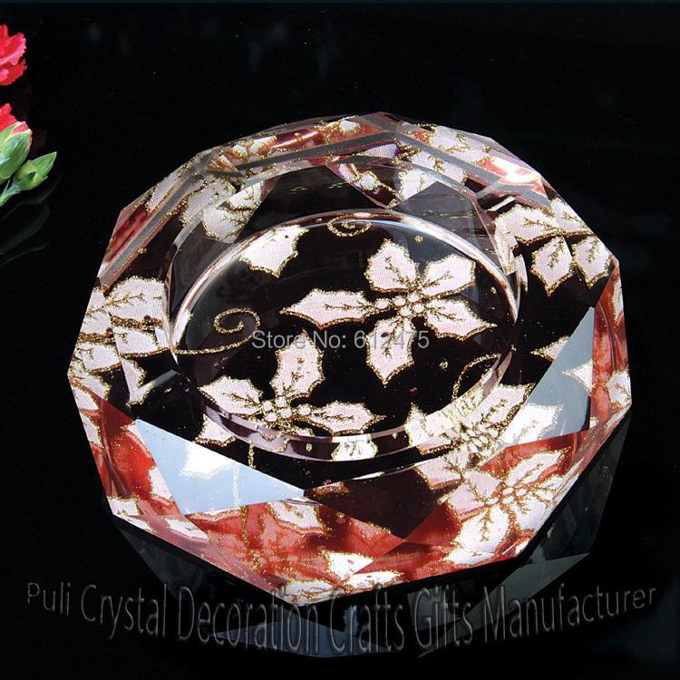 glass ash catcher business gift customizable diy Top grade 100mm cigar crystal ashtray, cohiba home Office supply cinzeiro(China (Mainland))