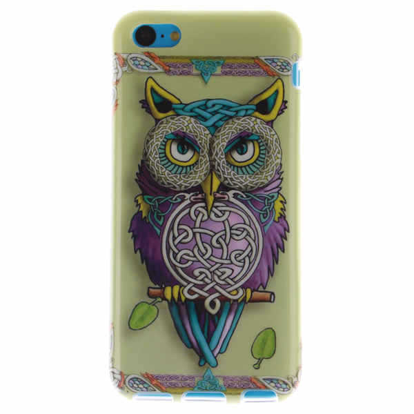 For Apple iPhone 5c Cover Phone Protection Shell cases Top Fashion cartoon painted Feather Leaf Owl Hybrid PC+TPU Slim soft Case(China (Mainland))
