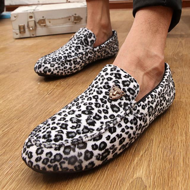 2016 новое поступление свободного покроя мужчин леопардовые замшевые туфли дышащая ...