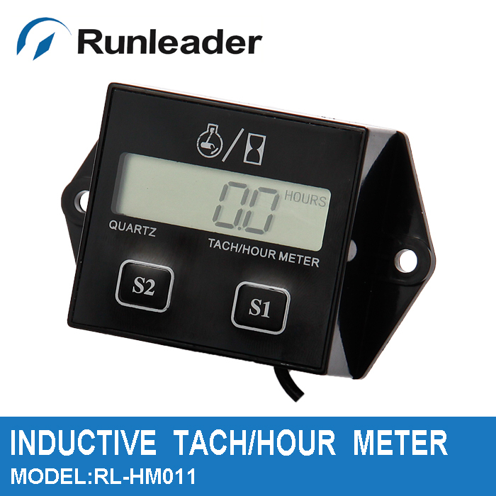 Free shipping!!! 10PC wholesale Digital inductive Hour meter tachometer tach KAWASAKI atv motorcycle atv mx utv mower motocross(China (Mainland))