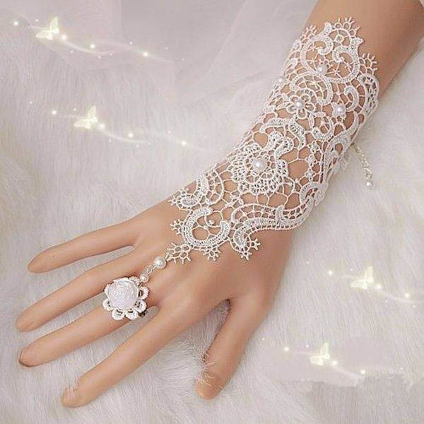 Pearl Lace Flower Wedding Bridal Gloves Ring Bracelet For Women(China (Mainland))