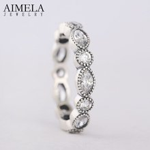 Buy AIMELA Round Oval Eternity Rings Clear Cz Pave Original 925 Sterling Silver Rings Women European Style Fine Jewelry for $12.39 in AliExpress store