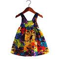2016 New summer girls costume fashion bohemian style dresses for girls 2 7Y sleeveless print children