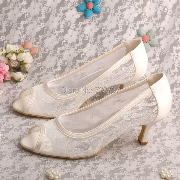 Bride Collections Plus Size Cream Lace Heel Shoes Bridal Open Toe Dropshipping<br><br>Aliexpress