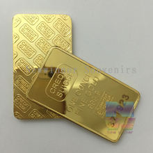 5pcs/lot Gold Plated Layered Bullion Bar Ingot Replica coin+ laser number free 1oz CREDIT SUISSE bar Switzerland Fake Gold Bar(China (Mainland))