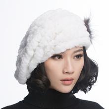 зимы женщин рекс кролика берет шляпы с меховой цветок hb05