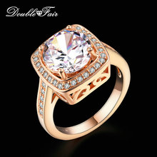 Buy Double Fair Unique Big AAA+Cubic Zirconia Engagement/Wedding Rings Rose Gold Color Fashion Retro Jewelry Women anel DFR111 for $3.35 in AliExpress store