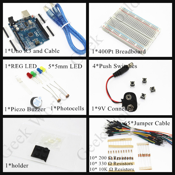 UNO R3 Kit - Starter to Ultimate/LED/400Pt Breadboard/Piezo Buzzer/Switches/Photoresistors/Uno R3 and USB Cable/Sensor(China (Mainland))
