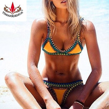 2016 Sexy Women Handmade Crochet Bikini Color Knit Suit Spell Color Triangle Swimming Trunks Swimsuit Beach Swimwear(China (Mainland))