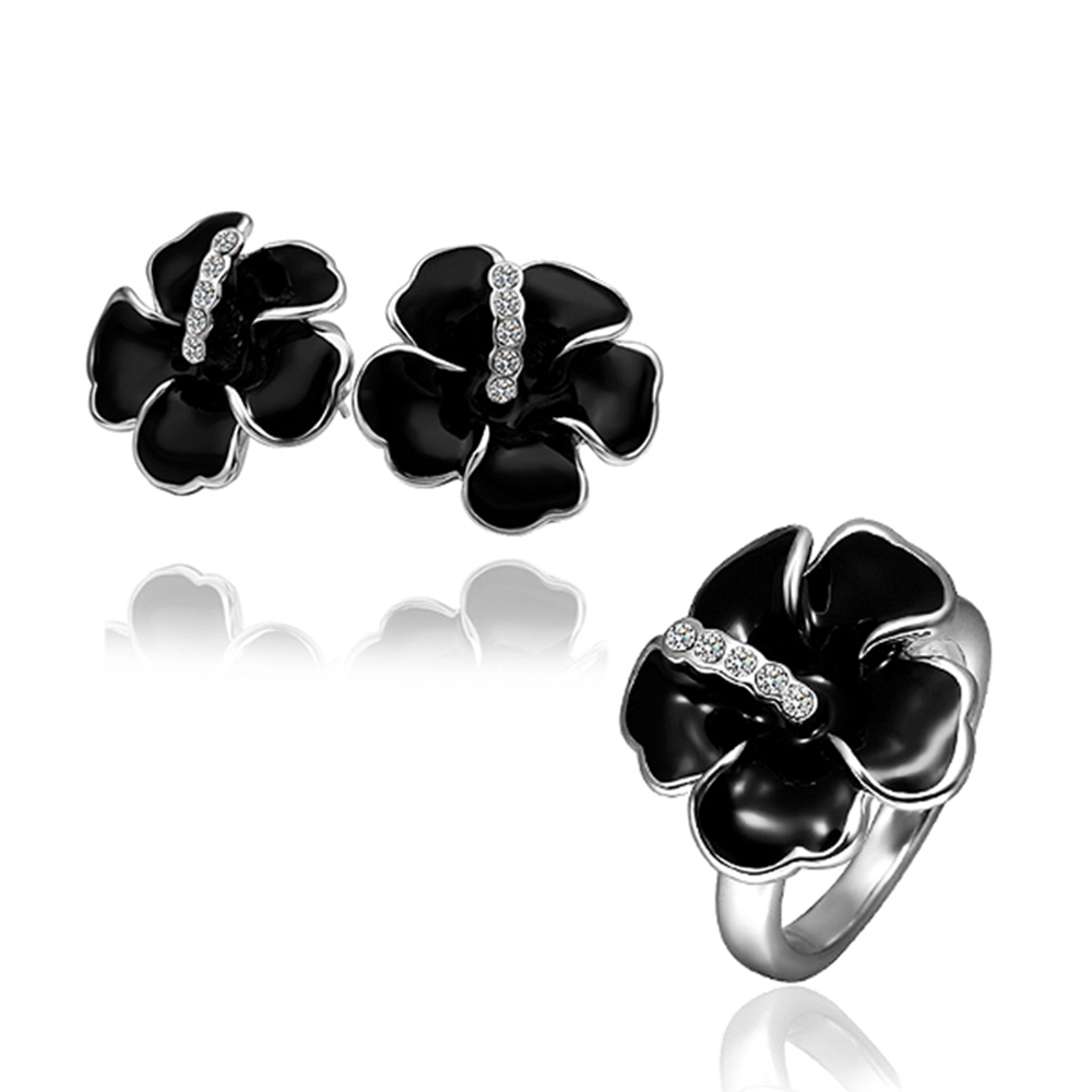 2015 Time-limited Fashion Hawaii Flowers Earing Ring Free Mixed Styles Stellux Zirconia Plated Jewelry Set Mother's Day Gift(China (Mainland))