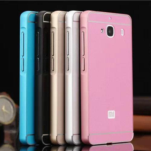 "New Xiaomi Redmi 2A Back Cover Case & Aluminum Metal Frame Set Hot Phone Bag Cases for Xiaomi Hongmi 2 Red Rice 2 4.7""(China (Mainland))"