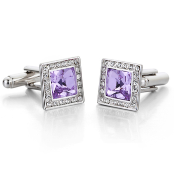 3 Colors for Option Silver Plated 100% Austria Crystal Cufflinks For Men