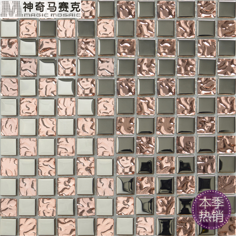 Electroplating factory pink crystal mosaic tile hotel sofa TV backdrop study pillars decorated(China (Mainland))