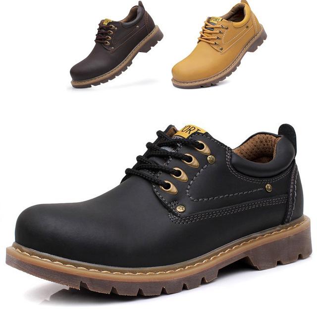 Новый бренд мужчины зимняя обувь открытый мужчины осень ботильоны ручной кожаные сапоги оксфорд обувь