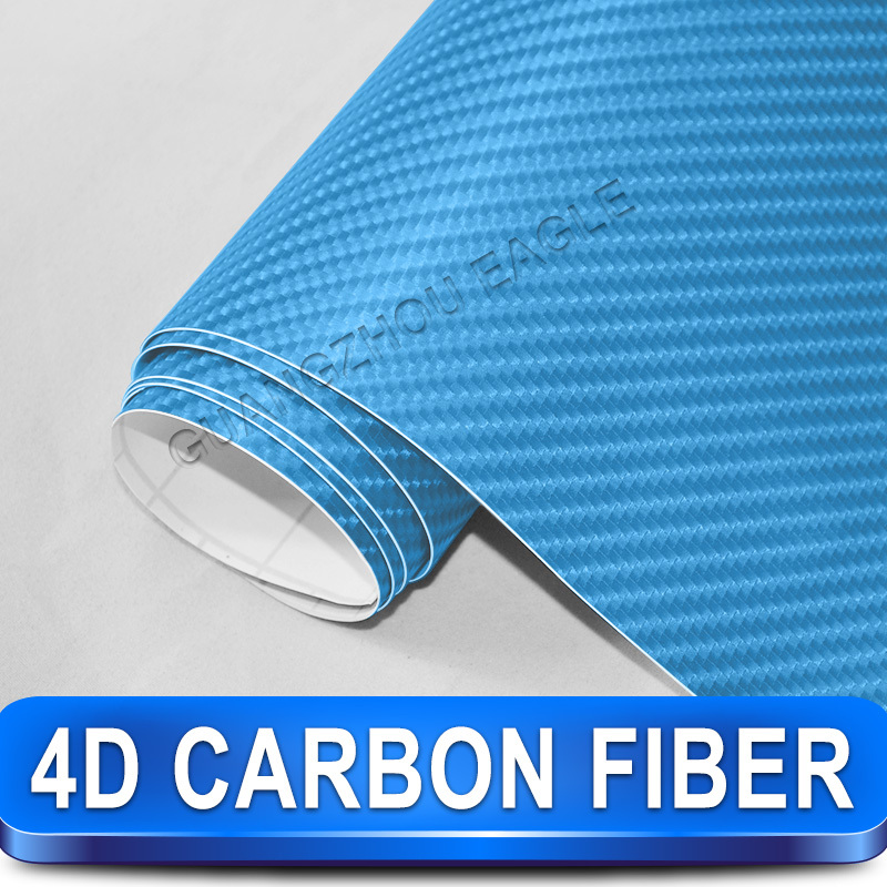Unique Wrap Blue 4 D Carbon Fiber Vinyl Fiber 30 meters Self-adhesive Car Stickers Vinyl Wrapping Free Shipping(China (Mainland))