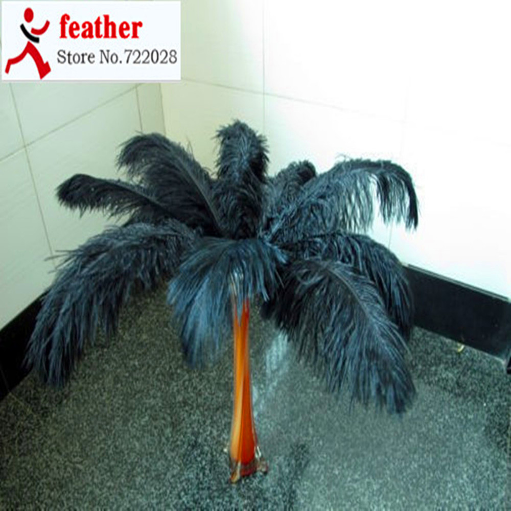 10 pcs beautiful natural dyed black ostrich feathers 50 to 55 cm/wholesale 20 to 22 inches(China (Mainland))