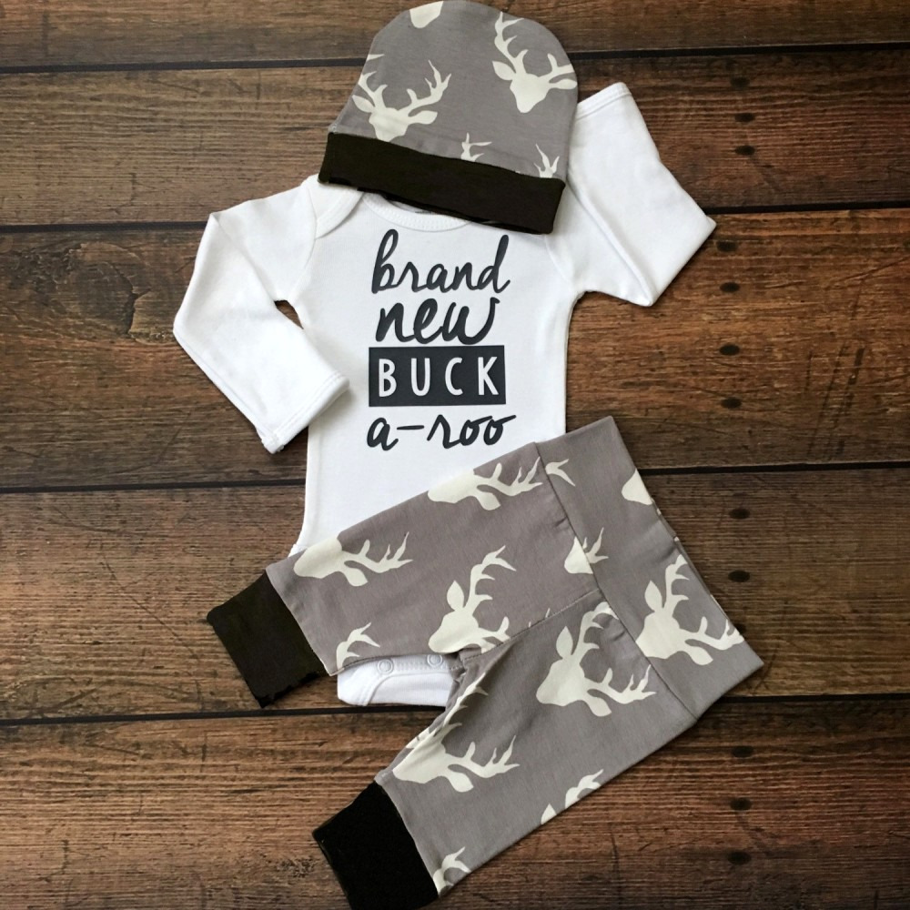 3pcs/set Toddler Baby Boy Girl Deer Romper Tops +Long Pants Hat Outfits Set Clothes 0-18M