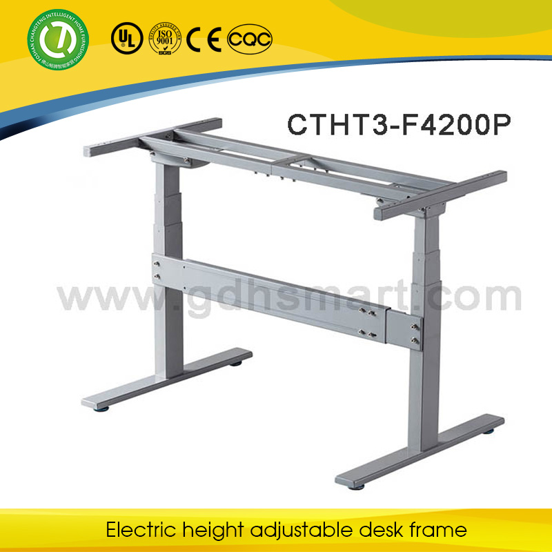 Electric two motors height adjustable desk electric double for Motorized standing desk legs