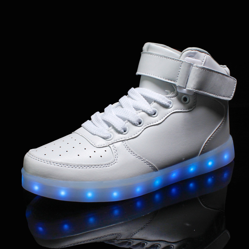 Led luminous shoes women casual shoes zapatos muje 2016 hot fashion hi-top men shoes lover flats Shoes(China (Mainland))