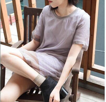 Free Shipping Korea Institute of retro style loose summer was thin organza dress round neck short T-shirt female piece tide(China (Mainland))