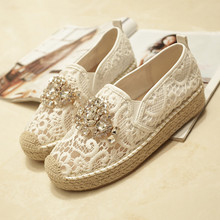 2016 Platform Lace Rhinestone Espadrilles Shoes Flats Shoes Luxury Brand Cut outs Hemp Rope Women Loafer Shoes Free Shipping(China (Mainland))