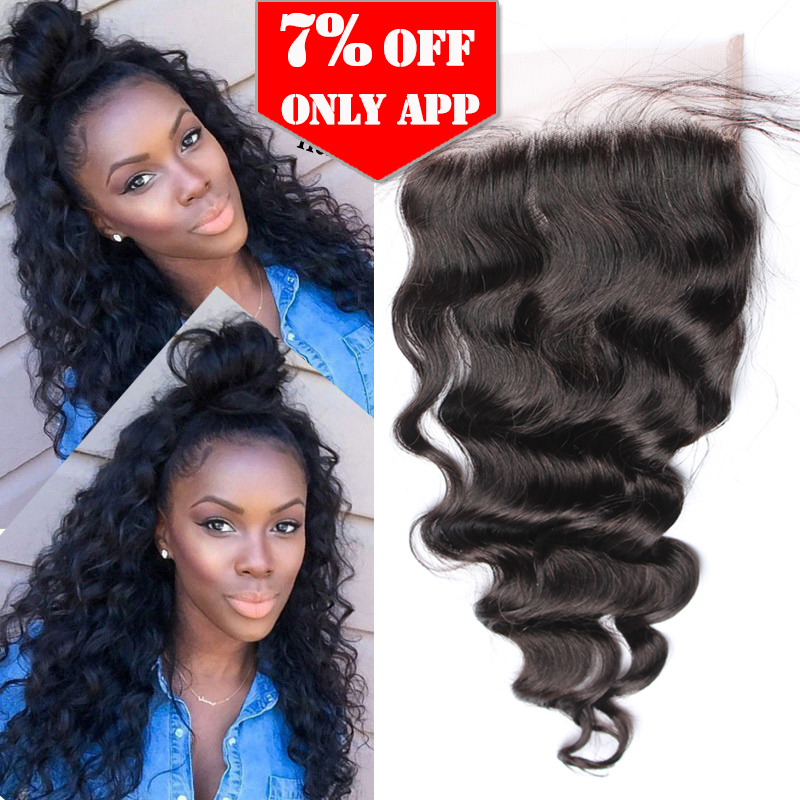 5x5 Lace Closure 7A Brazilian Loose Wave Lace Closure Middle Three Part Loose Curly Lace Closure With Baby Hair Rosa Hair(China (Mainland))