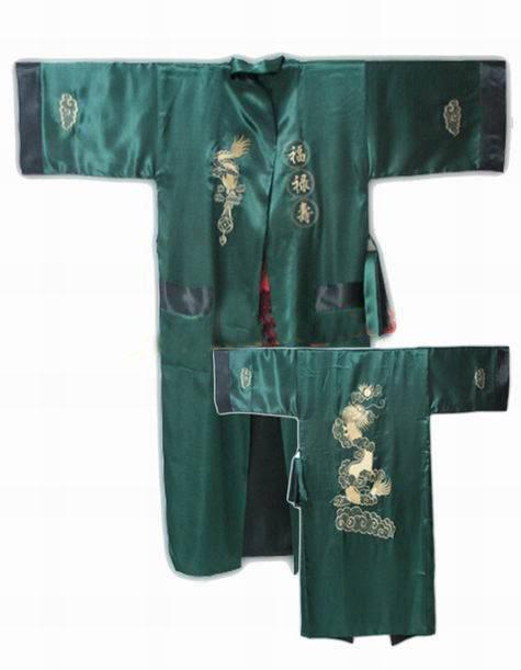 Зеленый черный реверсивные китайских людей сатин двуликий одеяние де-лос-hombres ...