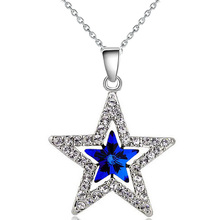 Buy 2017 fashion design women girl couple gifts 18KGP Austrian Crystal moon star sky pendant necklace fashion jewelry 80029 for $1.50 in AliExpress store
