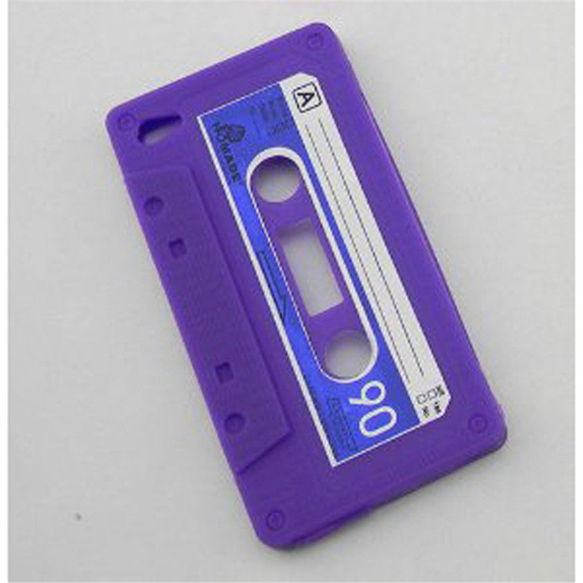 HL 1pc Cassette Tape Silicone Case Cover for iPhone 4 4G Purple Mar14(China (Mainland))