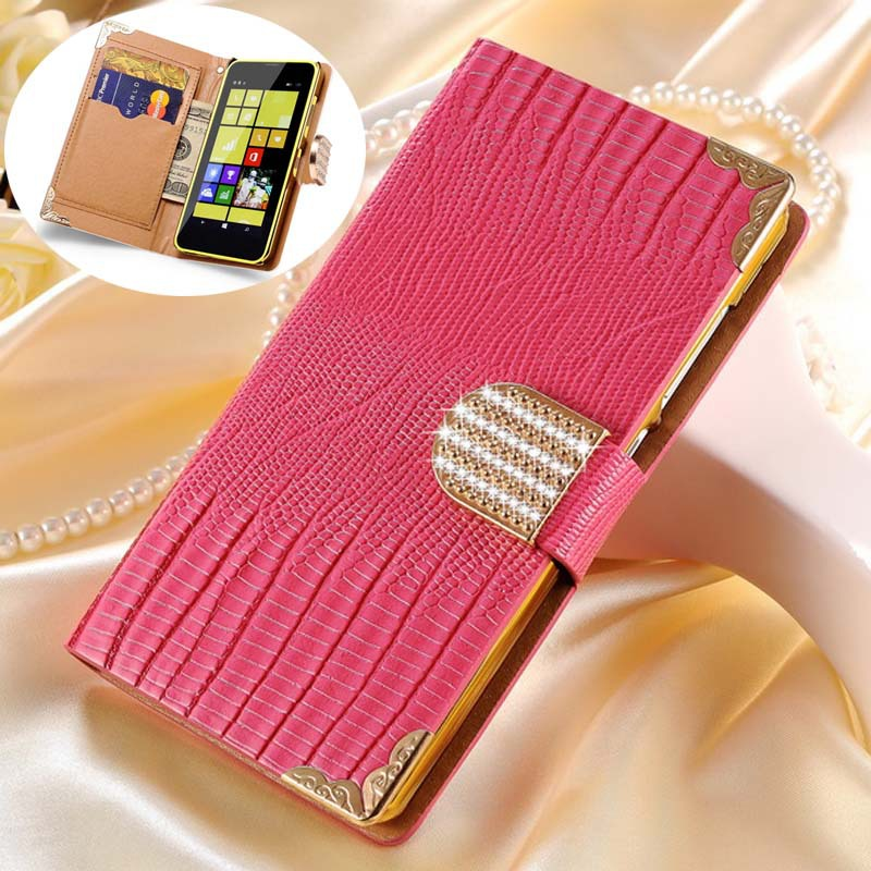 Wallet Case For Microsoft Nokia Lumia 635 / 630 Lizard Pattern PU Leather Filp Cover With Diamond Phone Bag Cell Phone Coque(China (Mainland))