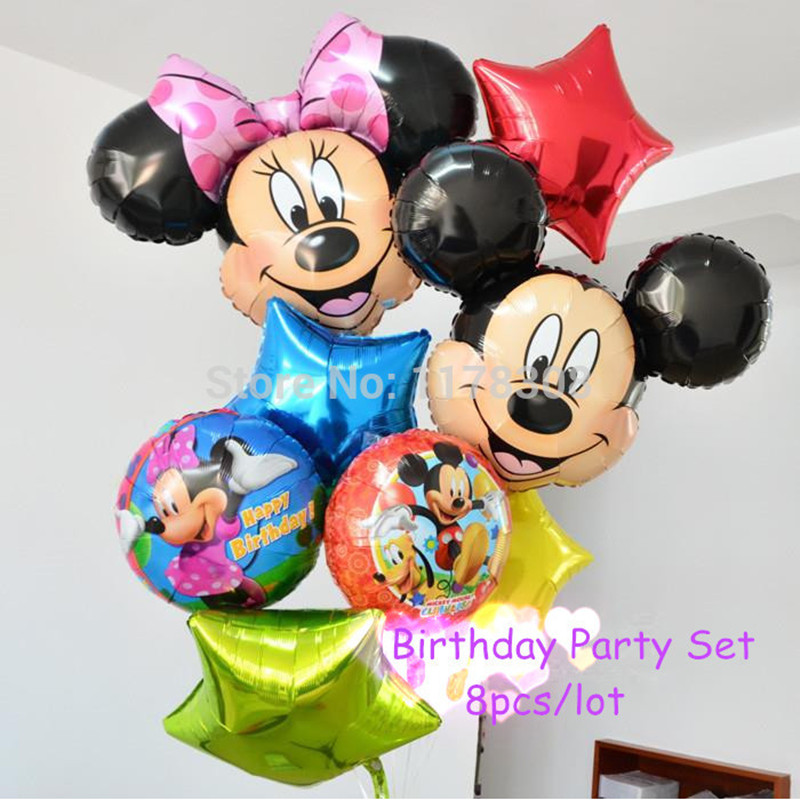 8pcs inflatable cartoon Mickey festa ball Minnie theme party decorations balloons happy birthday decorations foil balloons<br><br>Aliexpress