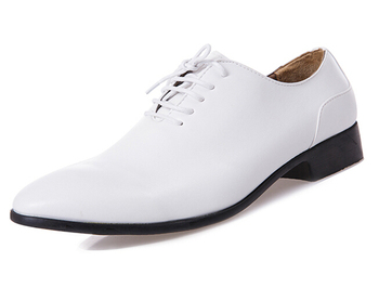 Fashion Brand Men Dress Leather Shoes Flats Pointed Toe Lace-Up Men Wedding Shoes British Style White Black Formal Shoes 3A