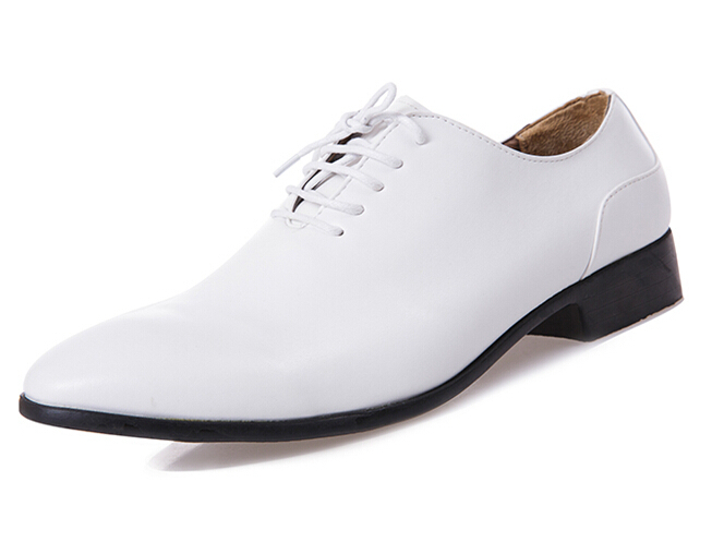 Fashion Brand Men Dress Leather Shoes Flats Pointed Toe Lace-Up Men Wedding Shoes British Style White Black Formal Shoes 3A(China (Mainland))