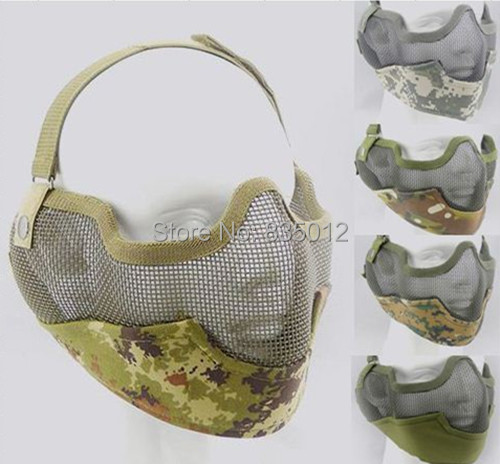 Free shippingTactics Half face metal net mesh protect mask airsoft hunting Military Multicam colors mask(China (Mainland))