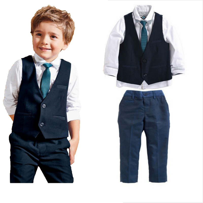 2016 leisure baby boys clothes set gentleman handsome formal wear for weddings vest+white t-shirt+suit pants free shipping(China (Mainland))