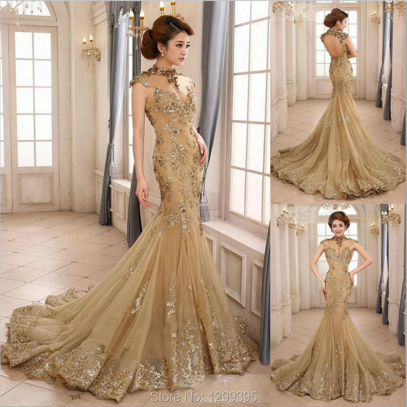 Real Sample Champagne Mermaid Evening Dresses High Neck Cap Sleeve Lace Appliques Beads and Sequins Wedding Dresses Prom 2015(China (Mainland))
