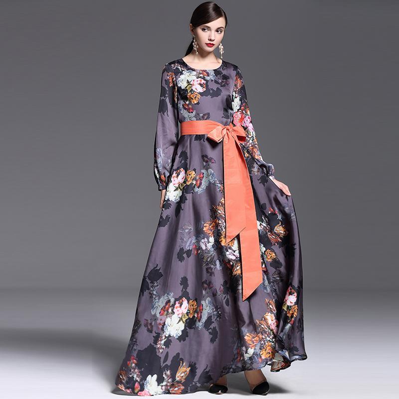 European Dress 2015 New Fashion Autumn Runway Brand Full Sleeve Vintage Print With Belt Exotic Maxi Long DressОдежда и ак�е��уары<br><br><br>Aliexpress