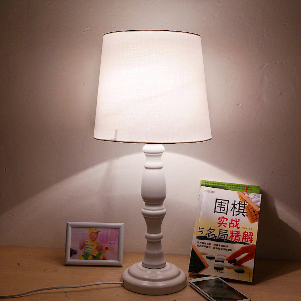 Rustic wooden child white fabric table lamp american bedside study lamp(China (Mainland))