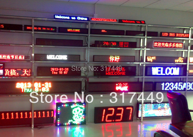 led sign display Programmable scrolling red/green/blue/white semi-outdoor/indoor,remote controller,rs232 control(China (Mainland))