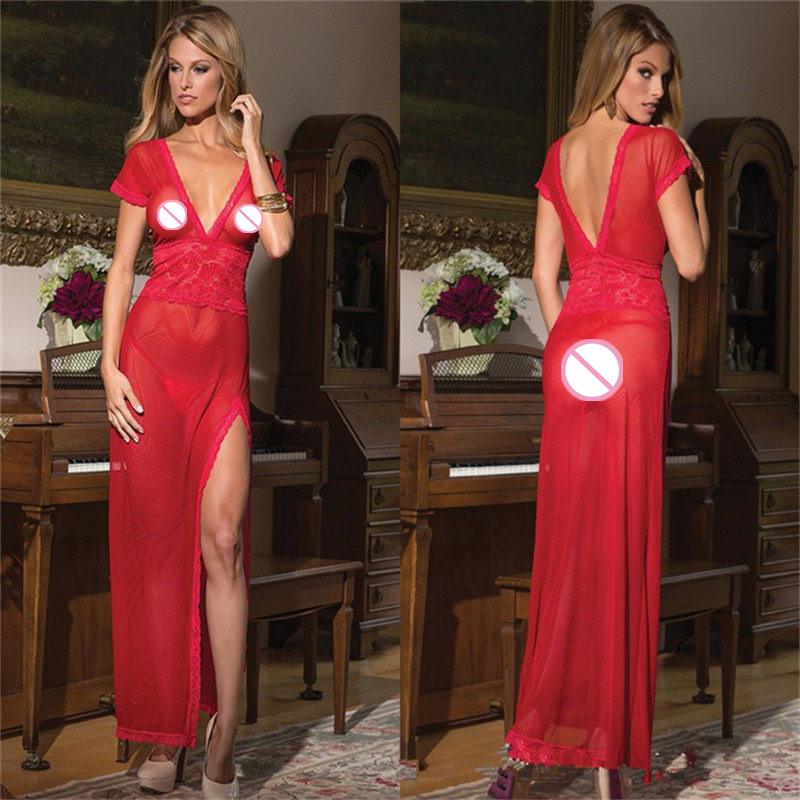 2016 New arrival Ladies Sexy Silk Satin Night Dress Nighties V-neck Nightgown Sleepwear Nightwear For Women(China (Mainland))