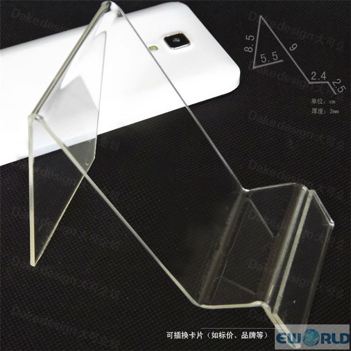 Clear Acrylic chair shape with lable place Mobile Phone Cell phone Display show shelf Stand Mount Holder for Universal(China (Mainland))