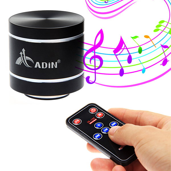 Hot! Mini Speaker Portable ADIN Rechargable USB Music Vibration Speaker Support TF Card And FM With Remote Control For Phones(China (Mainland))