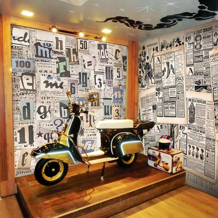 Estilo retro letras de peri dico museo del caf de for Papel tapiz estilo mural